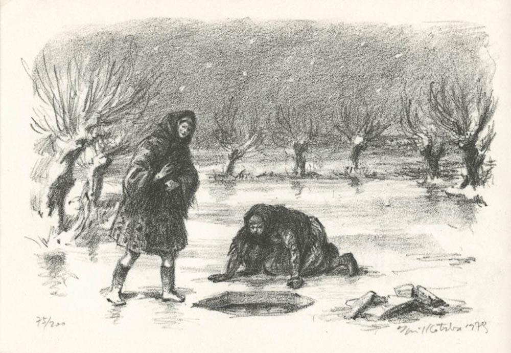 Kotrba - 2 women, hole in ice, 1979- - lith  1_