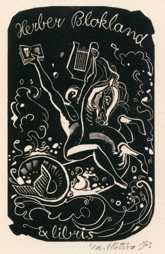 kotrba-emil-hippocampus-rider-with-book-and-lyre-blokland-wood-engraving-117-2