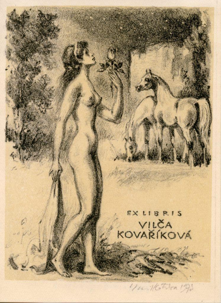 kotrba-emil-nude-woman-holding-rose-horses-kovarikova-lithograph-111