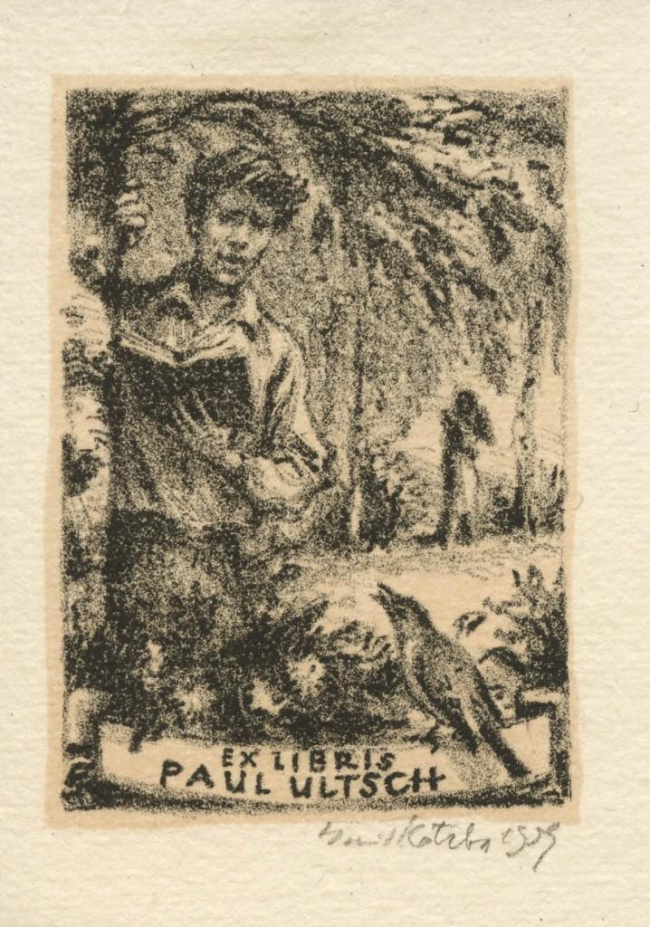 Kotrba - Man, book, bird, exl Ultsch - litho - sheet