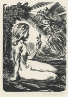 Kotrba - Nude with rose, horses in clouds, 1975 - wd eng - b_