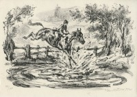Kotrba - horse & rider jumping, puddle, fg - litho - sheet