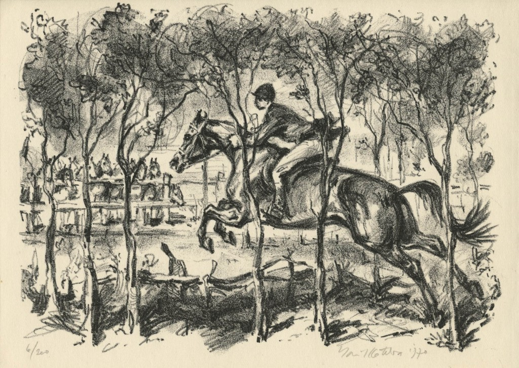 Kotrba - jumping horse and rider, fg - litho - sheet