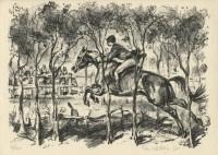 Kotrba - jumping horse and rider, fg - litho - sheet
