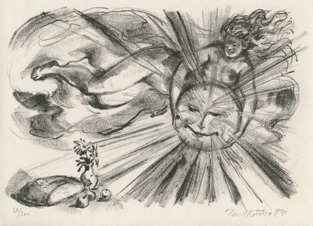Kotrba - nude woman holding sun - litho - sheet