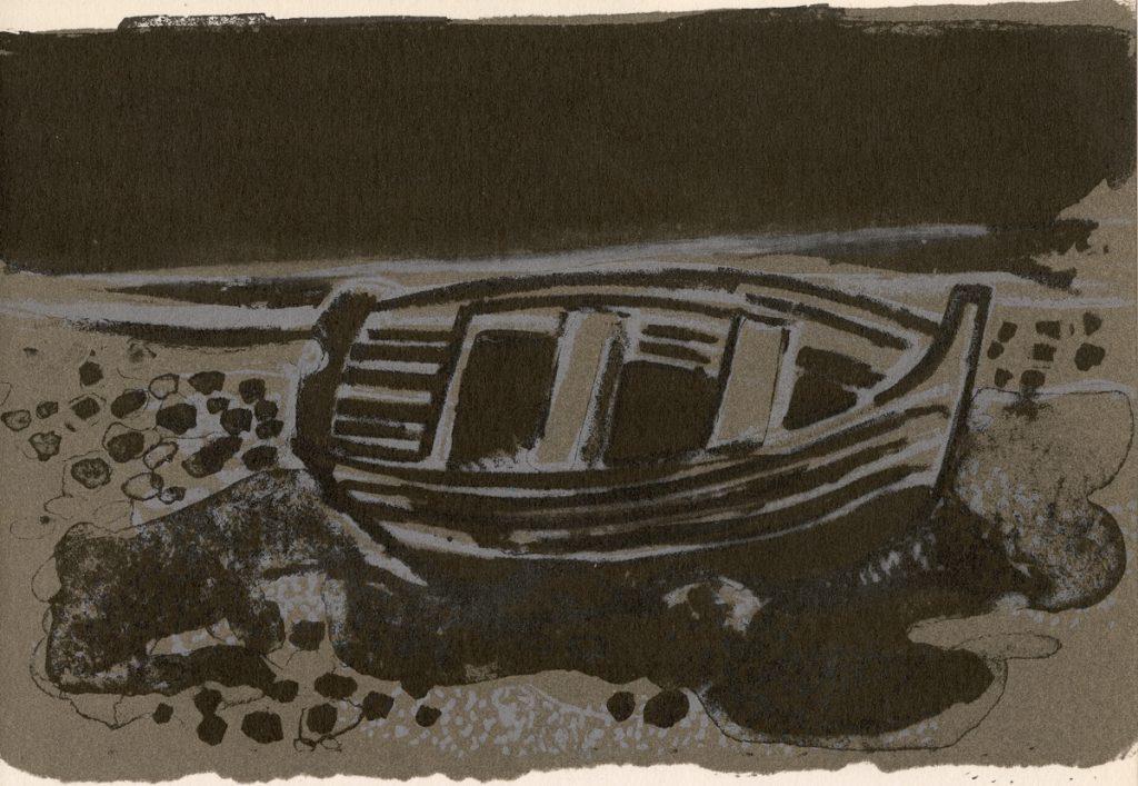 minaux-andre-lithograph-la-barque-aux-galets-1962_
