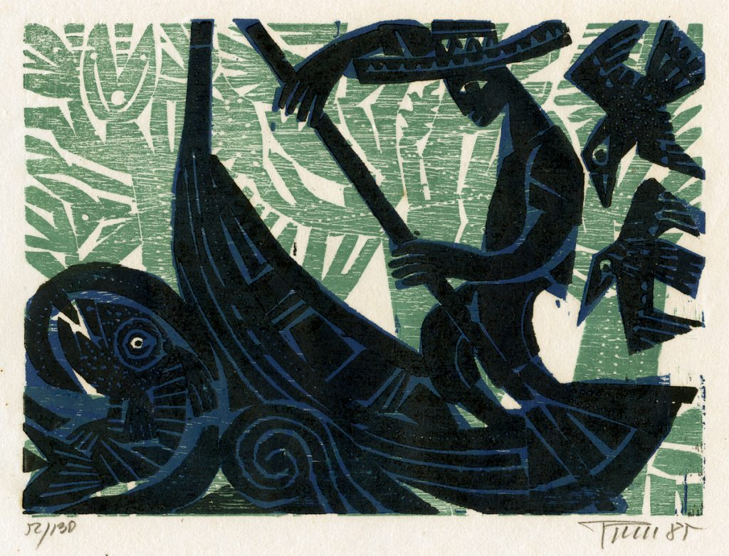 Pohl, Alfred - boatman with fish and birds_-2